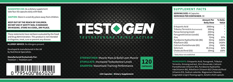 Testogen supplement fact