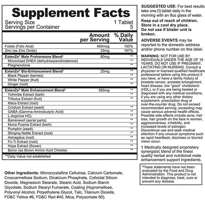 Extenze Plus Supplement Facts